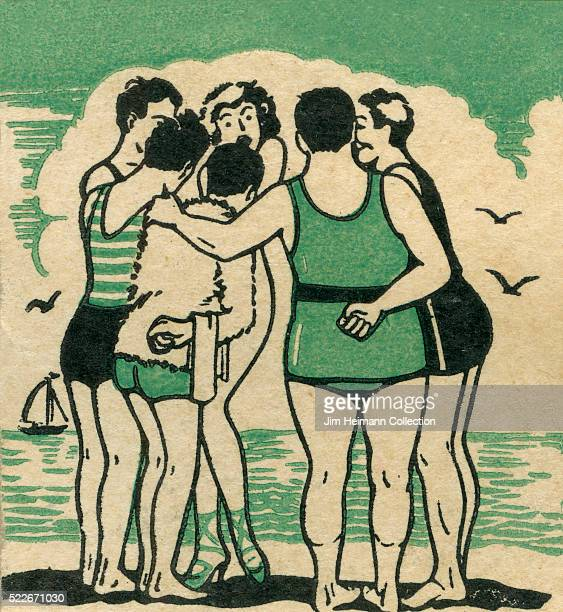 Matchbook image of men and women huddling in a discussion at beach Water in background with sailboat Seagulls in air