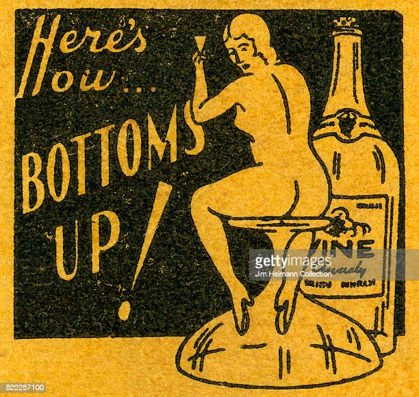 Matchbook image of nude woman sitting on an upside down glass beside a bottle of wine