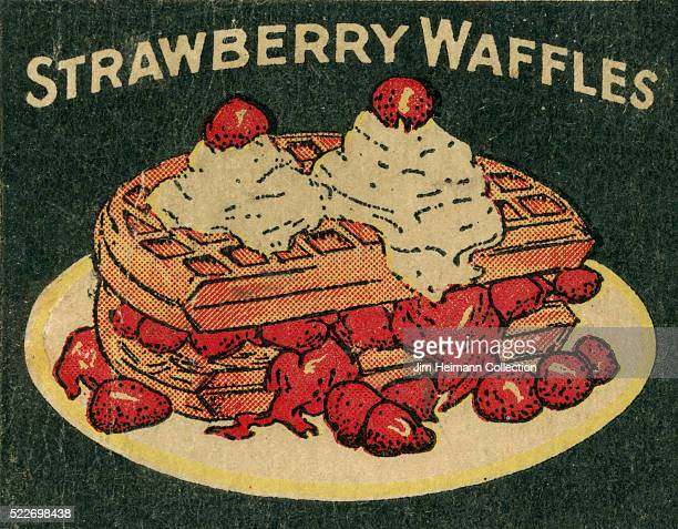 Matchbook image of plate of waffles layered with strawberries and whipped cream