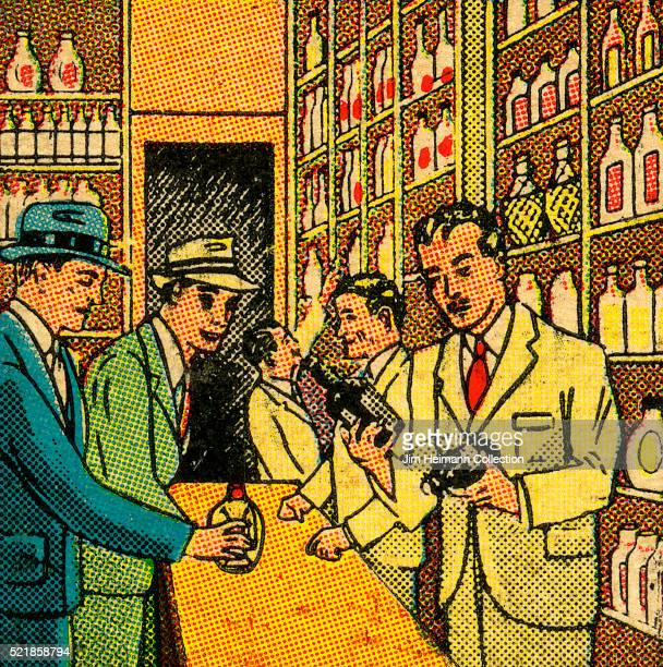 Matchbook image of sales clerks and customers at an liquor shop counter with floor to ceiling displays of alcohol bottles as an advertisement for the...