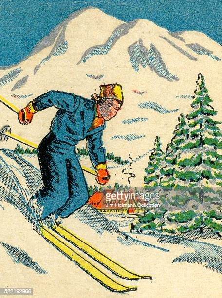 Matchbook image of skier skiing downhill Mountains and trees in background