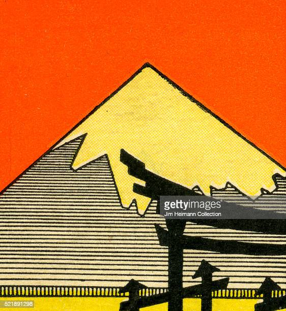 Matchbook image of snowcapped mountain against an orange background possibly Mount Fuji as an advertisement for the Ikeda Music Store