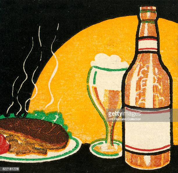 Matchbook image of steaming hot steak on a plate next to a glass of foamy beer and its bottle