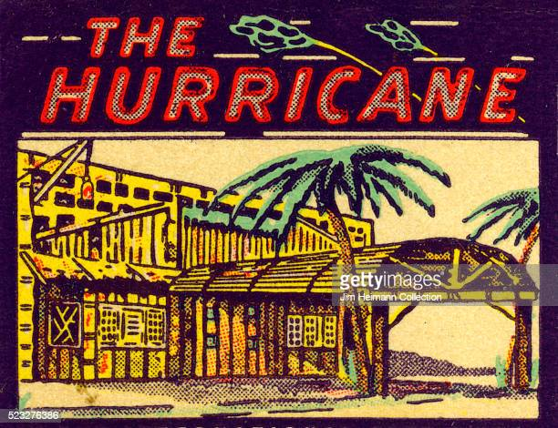 Matchbook image of the exterior of The Hurricane tiki bar with palm trees and a bamboo facade