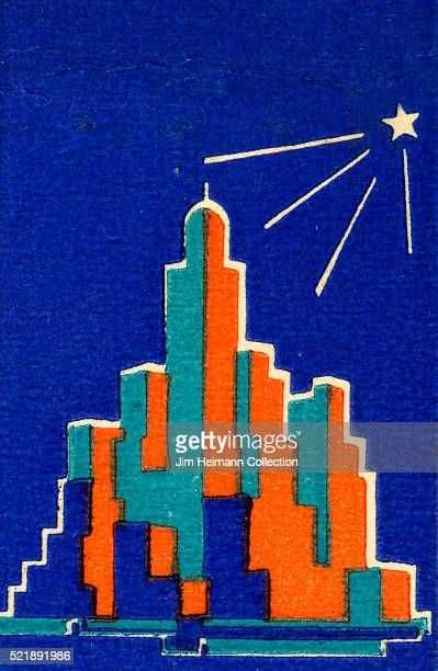 Matchbook image of the skyline of a city at night with a single star providing illumination and the buildings taking on an orange and turquoise glow