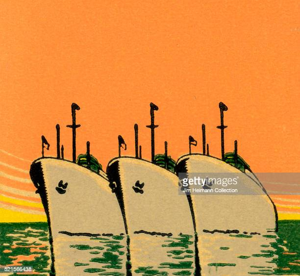 Matchbook image of three large ships side by side at sea against an orange sky