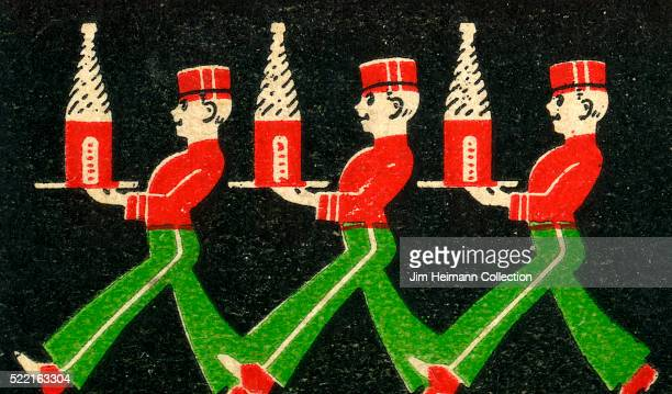 Matchbook image of three waiters carrying trays with bottles of club soda