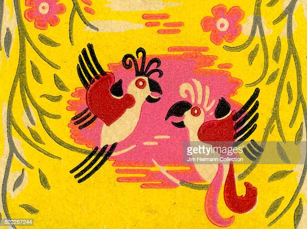 Matchbook image of tropical birds against yellow background with flowers foliage in stylized illustration