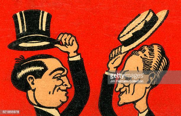 Matchbook image of two affluent men tipping their hats towards each other used as an advertisement for Leon and Eddie's restaurant