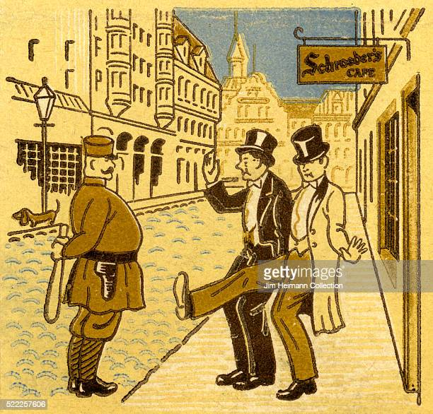 Matchbook image of two affluent well dressed men stumbling out of Schroeder's Cafe where a police officer greets them on the street