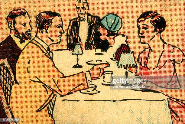 Matchbook image of two couples sitting at tables in restaurant Waiter in background