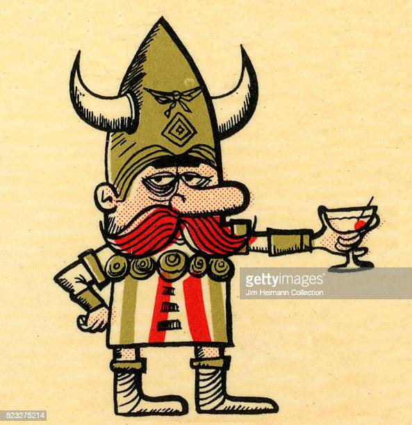 Matchbook image of Viking wearing horned helmet holding martini