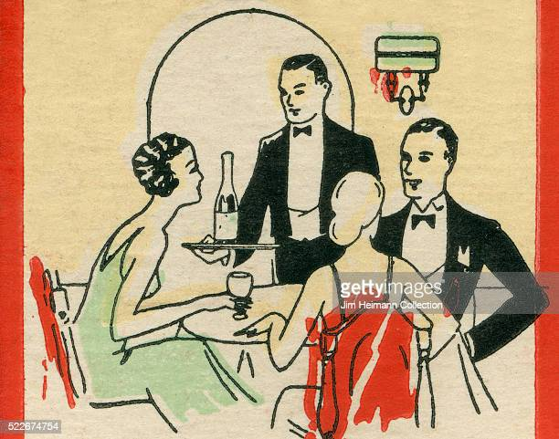 Matchbook image of waiter serving wine to two well dressed women and man in tuxedo