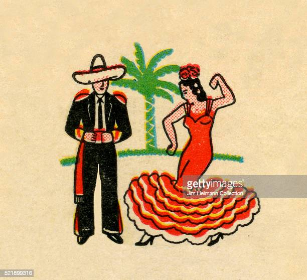 Matchbook image of woman dancing flamenco and man with sombrero Palm tree in background