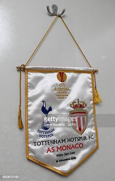 Matchday pennant in the AS Monaco FC dressing room prior to the UEFA Europa League group J match between Tottenham Hotspur FC and AS Monaco FC at...