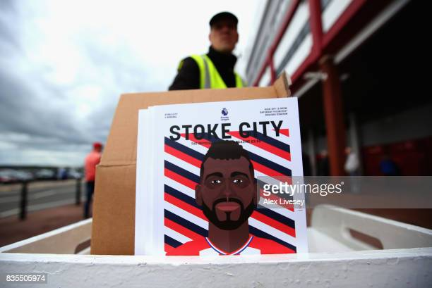 Matchday programme is seen prior to the Premier League match between Stoke City and Arsenal at Bet365 Stadium on August 19 2017 in Stoke on Trent...