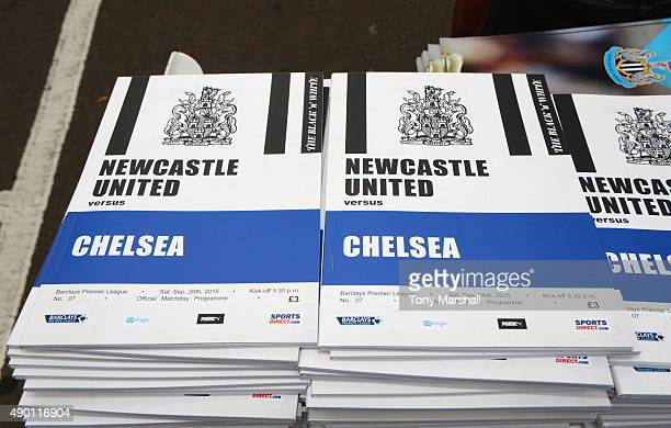 Matchday programmes are sold at a stall outside the stadium prior to the Barclays Premier League match between Newcastle United and Chelsea at St...