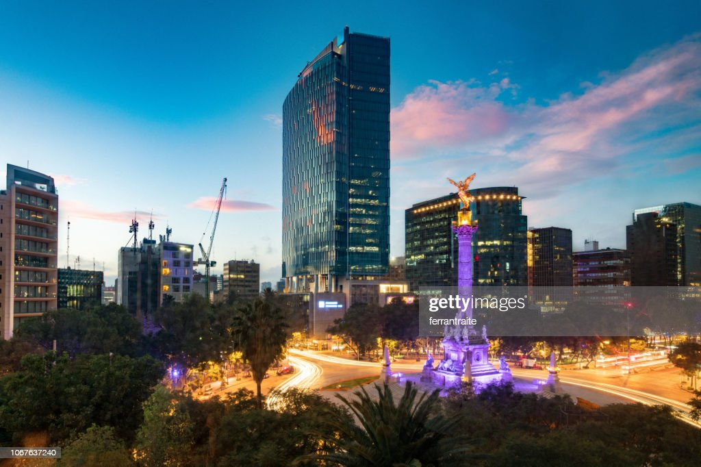 Matching Day and Night Mexico City Skyline : Stock Photo