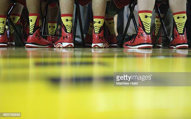 Matching Under Armour shoes worn by members of the Maryland Terrapins during their matchup against the Iowa Hawkeyes at CarverHawkeye Arena on...