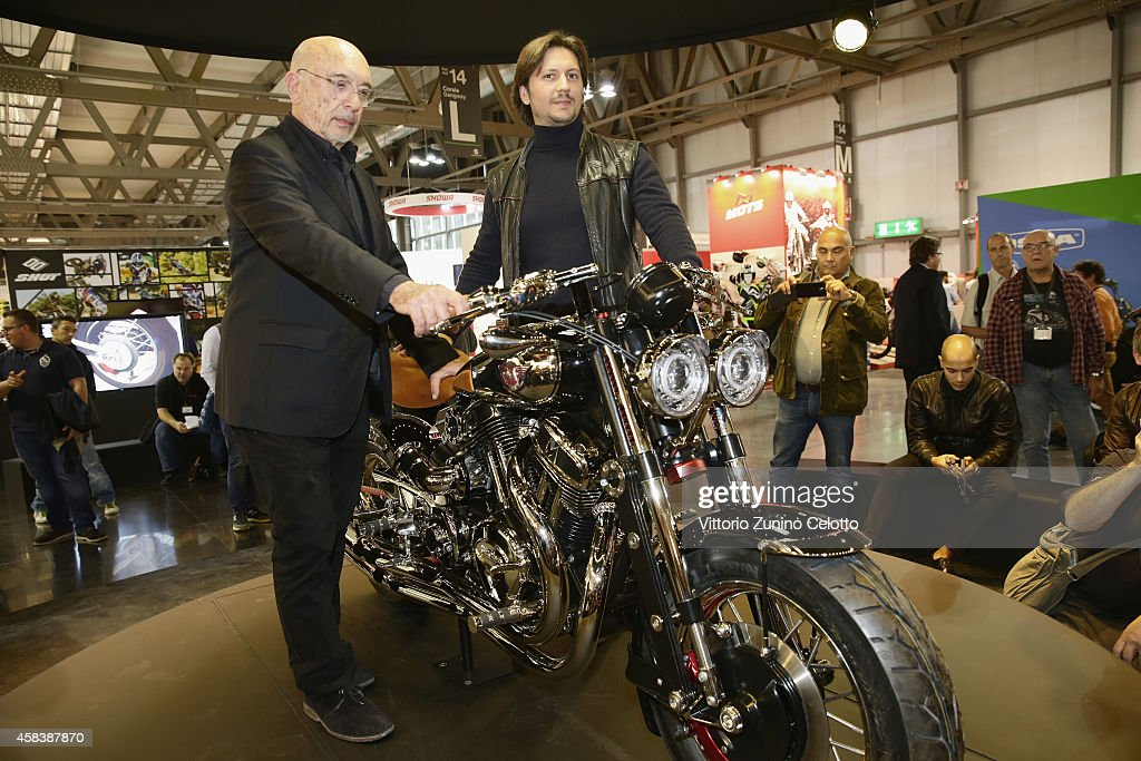 Matchless Chairman Franco Malenotti (L) and Matchless Managing Director Michele Malenotti attend the Matchless Official Presentation of the model X Reloaded on November 4, 2014 in Milan, Italy.