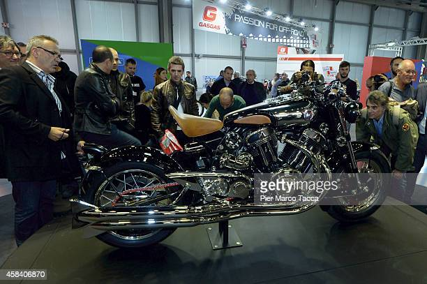Matchless model X Reloaded is displayed during the EICMA 2014 72th International Motorcycle Exhibition on November 4 2014 in Milan Italy