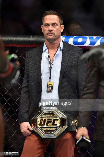 Matchmaker Mick Maynard holds the UFC Legacy championship belt during the UFC 235 event at TMobile Arena on March 2 2019 in Las Vegas Nevada
