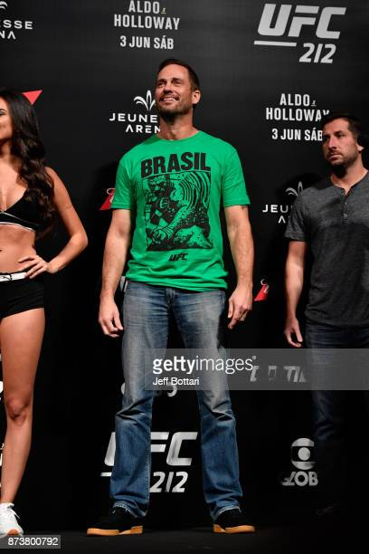 Matchmaker Mick Maynard stands on stage during the UFC 212 weighin at Jeunesse Arena on June 2 2017 in Rio de Janeiro Brazil