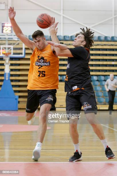 Mate Colina and Mitchell Newton compete for the ball during the NBL Combine 2017/18 at Melbourne Sports and Aquatic Centre on April 18 2017 in...
