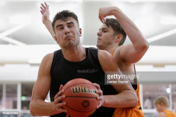 Mate Colina takes the ball under the basket during the NBL Combine 2017/18 at Melbourne Sports and Aquatic Centre on April 18 2017 in Melbourne...