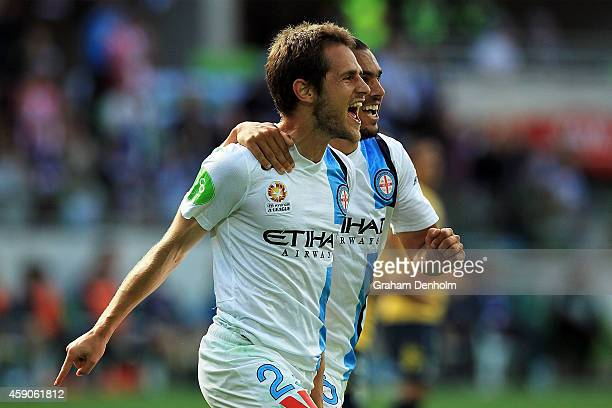 Mate Dugandzic of Melbourne City celebrates his goal with teammate David Williams during the round six ALeague match between Melbourne City FC and...