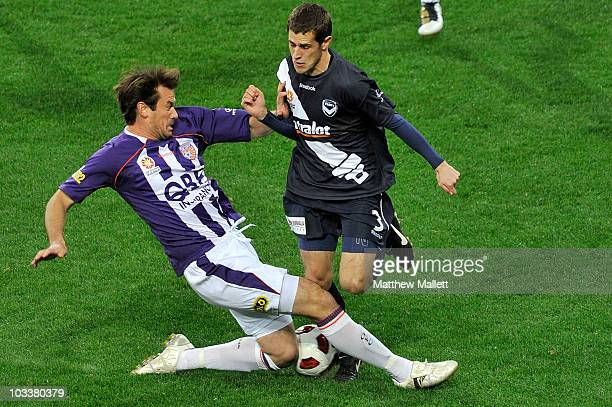 Mate Dugandzic of the Victory attacks the ball during the round two ALeague match between the Melbourne Victory and the Perth Glory at AAMI Park on...