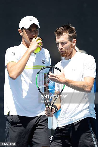 Mate Pavic of Croatia and Alexander Peya of Austria compete in their first round match against Jurgen Melzer of Austria and AisamUlHaq Qureshi of...