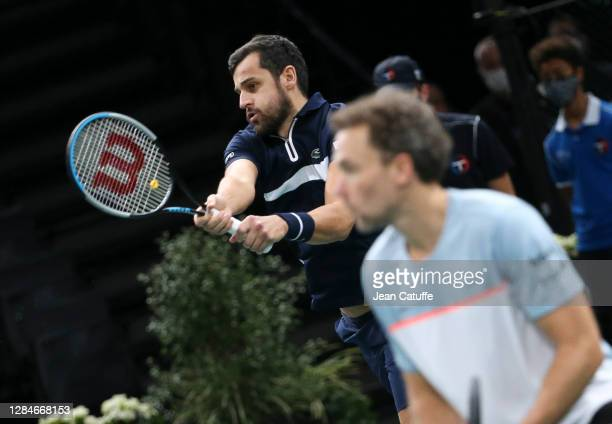 Mate Pavic of Croatia and Bruno Soares of Brazil during the men's doubles final on day 7 of the Rolex Paris Masters, an ATP Masters 1000 tournament...