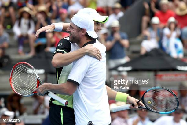 Mate Pavic of Croatia and Oliver Marach of Austria celebrates their Mens Doubles Final against Philipp Oswald of Austria and Max Mirnyi of Belarus...