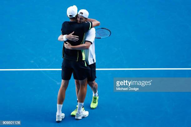 Mate Pavic of Croatia celebrates his win with partner Oliver Marach of Austria in the men's doubles quarterfinal match against Marcus Daniell of New...