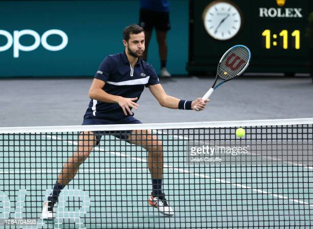 Mate Pavic of Croatia during the men's doubles final on day 7 of the Rolex Paris Masters, an ATP Masters 1000 tournament held behind closed doors at...