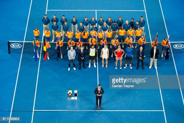 Mate Pavic of Croatia Gabriela Dabrowski of Canada Timea Babos of Hungary and Rohan Bopanna of India pose for a photo at the trophy presentation...