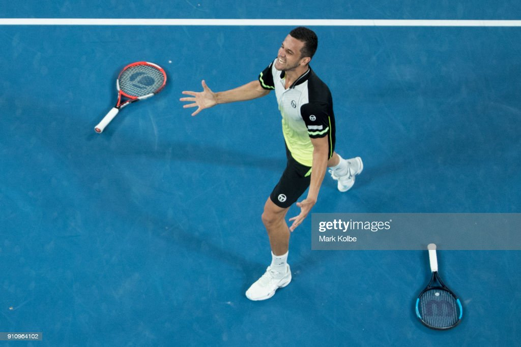 Mate Pavic of Croatia playing with Oliver Marach of Austria celebrates winning their men's doubles final match against Robert Farah and Juan Sebastian Cabal of Colombia on day 13 of the 2018 Australian Open at Melbourne Park on January 27, 2018 in Melbourne, Australia.