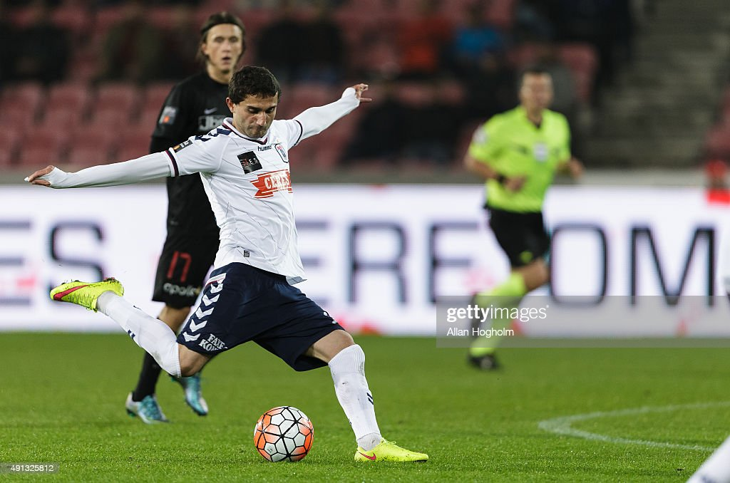 Mate Vatsadze of AGF Aarhus in action during the Danish Alka Superliga match between FC Midtjylland and AGF Aarhus at MCH Arena on October 4, 2015 in Herning, Denmark.