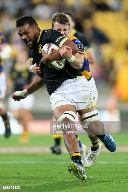 Mateaki Kafatolu of Wellington is tackled by Luke Campbell of Bay of Plenty during the Mitre 10 Cup Championship Final match between Wellington and...