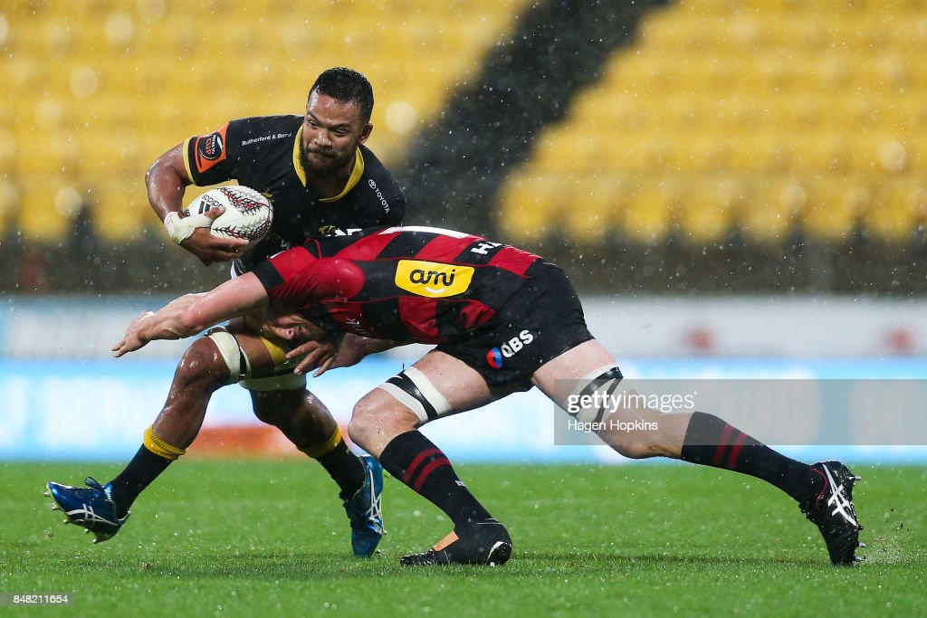 Mateaki Kafatolu of Wellington is tackled by Mitchell Dunshea of Canterbury during the round five Mitre 10 Cup match between Wellington and Canterbury at Westpac Stadium on September 17, 2017 in Wellington, New Zealand.