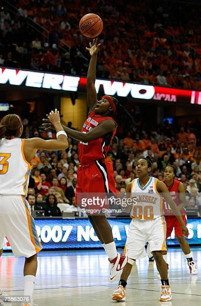 Matee Ajavon of the Rutgers Scarlet Knights attempts a shot against the Tennessee Lady Volunteers during the 2007 NCAA Women's Basketball...