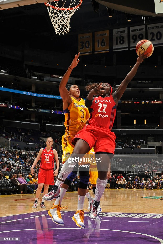 Matee Ajavon #22 of the Washington Mystics puts up a shot against the Los Angeles Sparks at Staples Center on June 23, 2013 in Los Angeles, California.