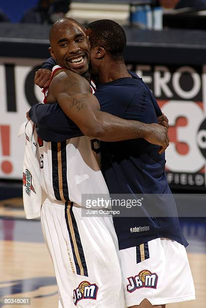 Mateen Cleaves of the Bakersfield Jam celebrates with a teammate after hitting the game winning basket against the Utah Flash on March 22, 2008 at...