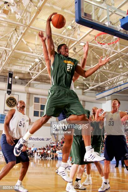 Mateen Cleaves of the Seattle Sonics rebounds the ball against the Utah Jazz on July 18, 2005 at the Reebok Rocky Mountain Revue in Salt Lake City,...