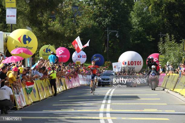 Matej approaches the finish line as a winner of the seventh and final stage of the 76th Tour de Pologne, part of UCI World Tour in Bukowina...