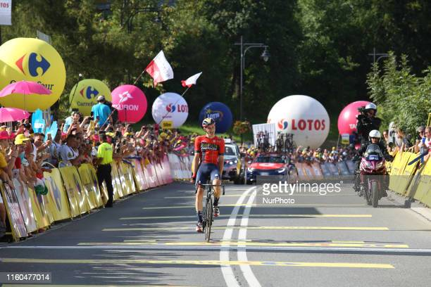 Matej crosses the finish line as a winner of the seventh and final stage of the 76th Tour de Pologne, part of UCI World Tour in Bukowina Tatrzanska,...