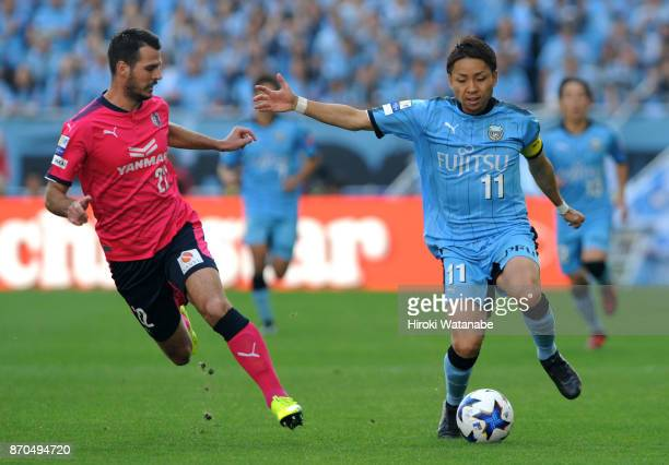 Matej Jonjic of Cerezo Osaka and Yu Kobayashi of compete for the ball during the JLeague Levain Cup final match between Cerezo Osaka and Kawasaki...