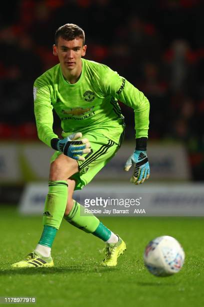 Matej Kovar of Manchester United U21 during the Leasingcom Trophy match fixture between Doncaster Rovers and Manchester United U21's at Keepmoat...