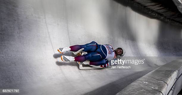 Matej Kvicala and Jaromir Kudera of Czech Republic compete in the first heat of the Men's Double Luge competition during the second day of the...